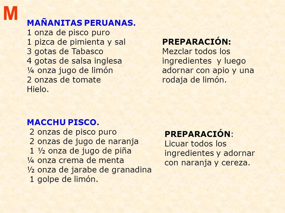 M MAÑANITAS PERUANAS. 1 onza de pisco puro 1 pizca de pimienta y sal