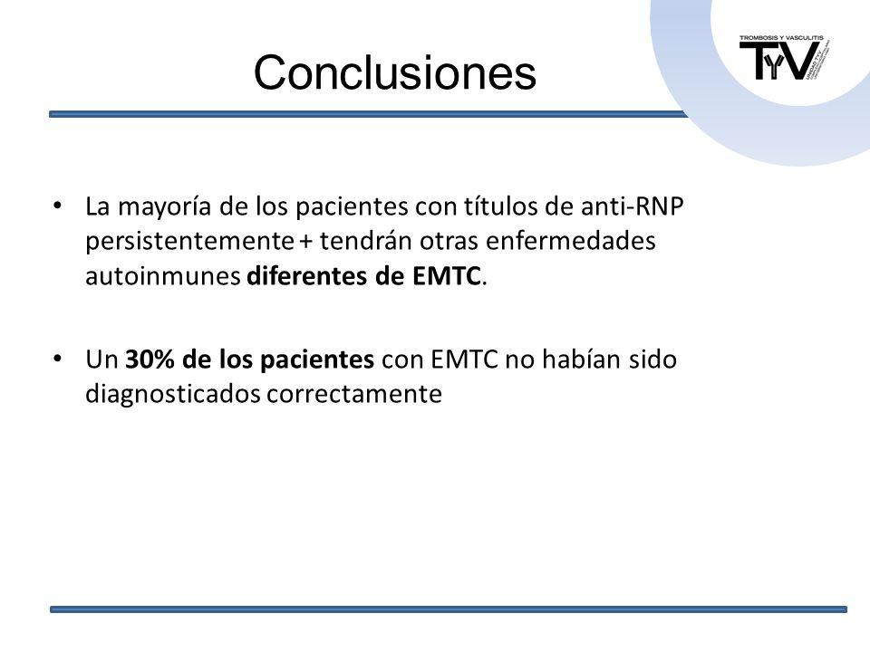 ConclusionesLa mayoría de los pacientes con títulos de anti-RNP persistentemente + tendrán otras enfermedades autoinmunes diferentes de EMTC.
