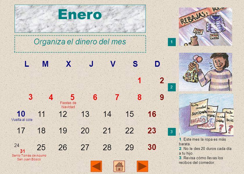 Enero Organiza el dinero del mes L M X J V S D 1 2 3 4 5 6 7 8 9 10 11