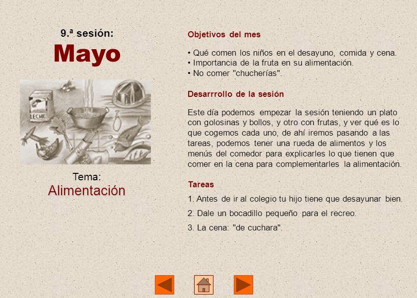 Mayo Alimentación 9.ª sesión: Tema: Objetivos del mes