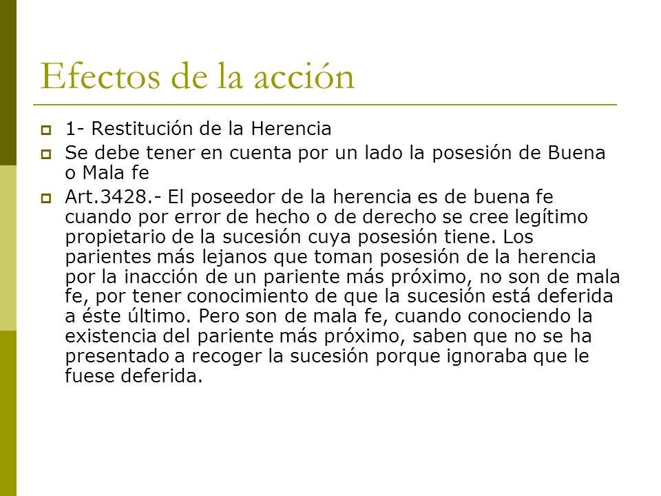 Efectos de la acción 1- Restitución de la Herencia