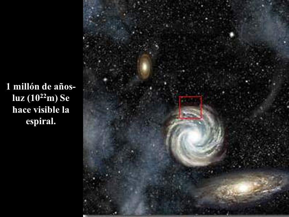 1 millón de años-luz (1022m) Se hace visible la espiral.
