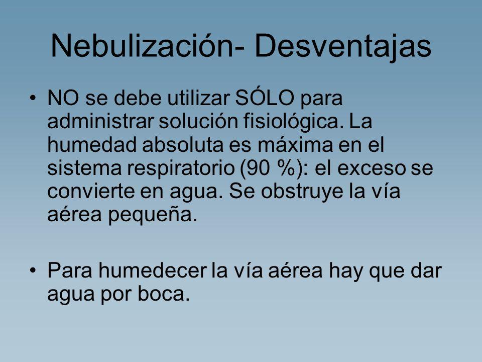 Nebulización- Desventajas