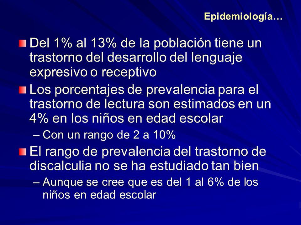 Epidemiología… Del 1% al 13% de la población tiene un trastorno del desarrollo del lenguaje expresivo o receptivo.