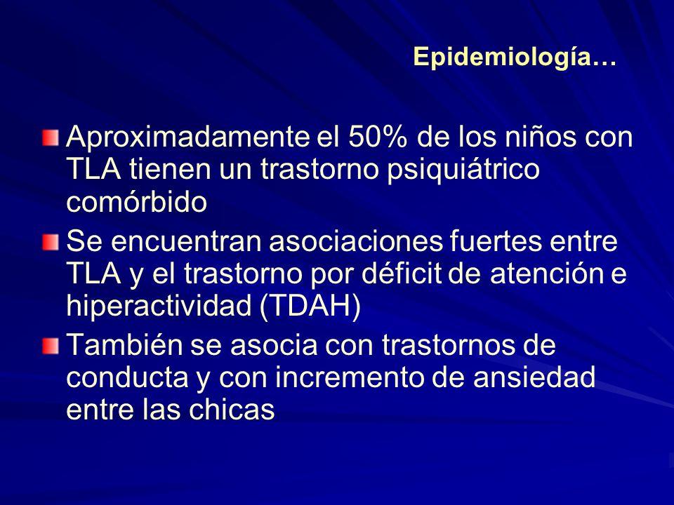 Epidemiología… Aproximadamente el 50% de los niños con TLA tienen un trastorno psiquiátrico comórbido.