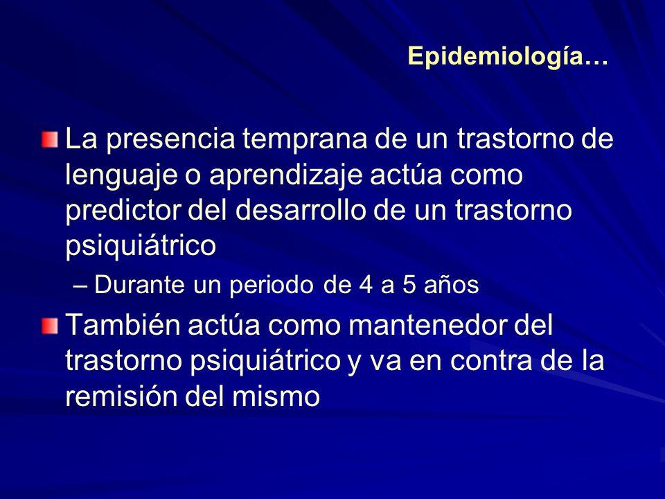 Epidemiología… La presencia temprana de un trastorno de lenguaje o aprendizaje actúa como predictor del desarrollo de un trastorno psiquiátrico.