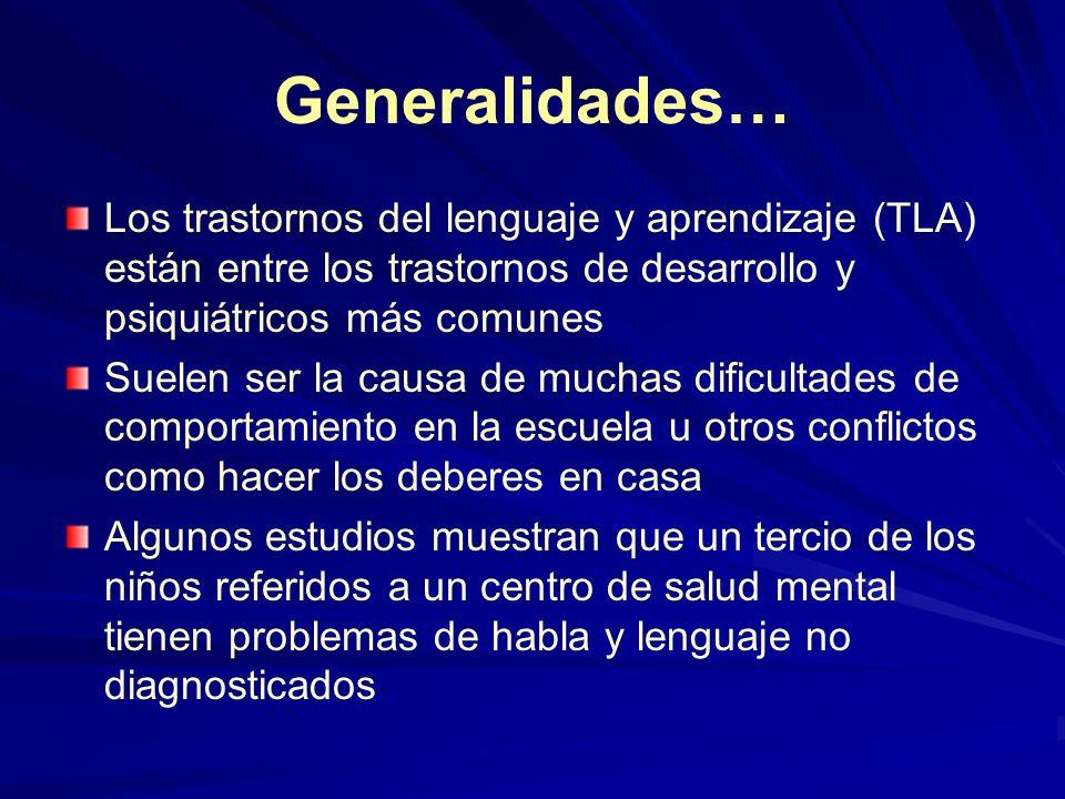 Generalidades… Los trastornos del lenguaje y aprendizaje (TLA) están entre los trastornos de desarrollo y psiquiátricos más comunes.