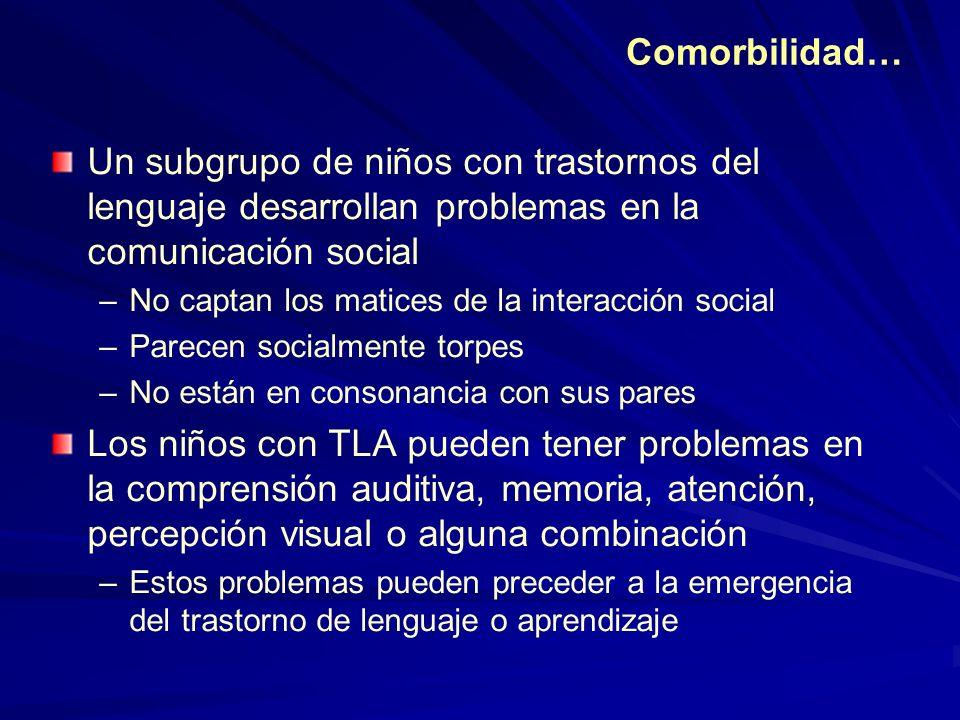 Comorbilidad… Un subgrupo de niños con trastornos del lenguaje desarrollan problemas en la comunicación social.