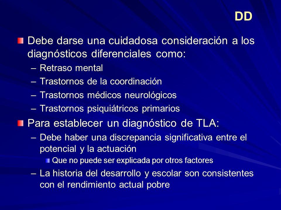 DD Debe darse una cuidadosa consideración a los diagnósticos diferenciales como: Retraso mental. Trastornos de la coordinación.