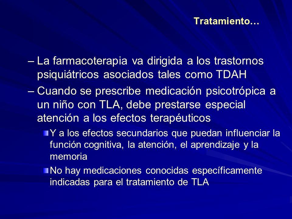 Tratamiento… La farmacoterapia va dirigida a los trastornos psiquiátricos asociados tales como TDAH.
