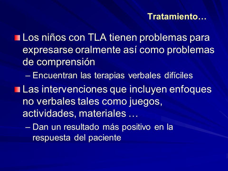 Tratamiento… Los niños con TLA tienen problemas para expresarse oralmente así como problemas de comprensión.