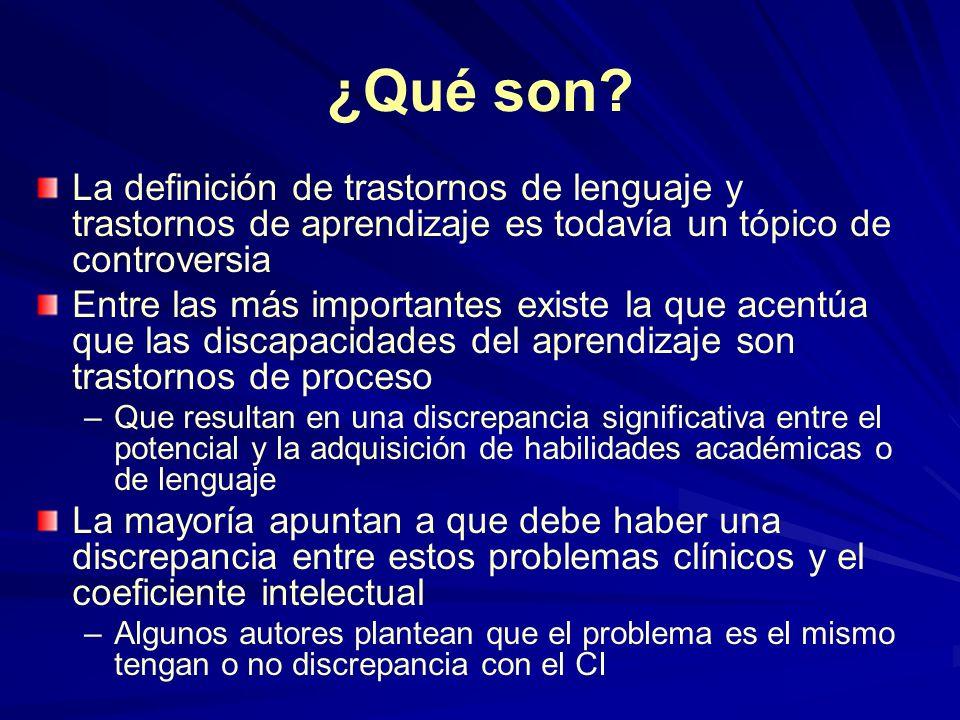 ¿Qué son La definición de trastornos de lenguaje y trastornos de aprendizaje es todavía un tópico de controversia.