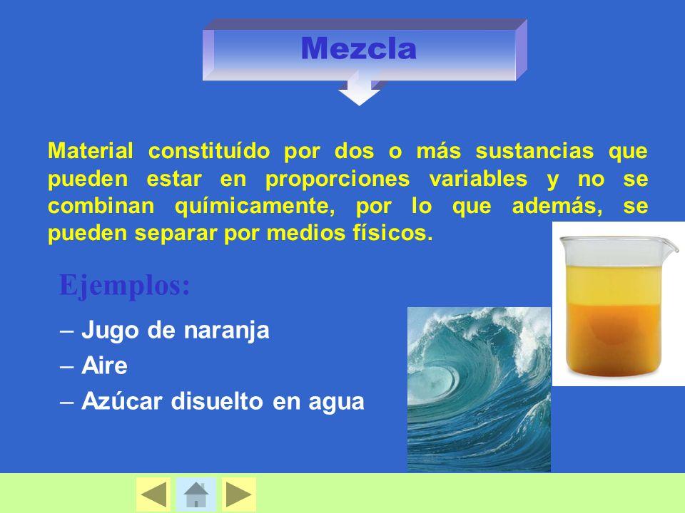 Mezcla Ejemplos: Jugo de naranja Aire Azúcar disuelto en agua