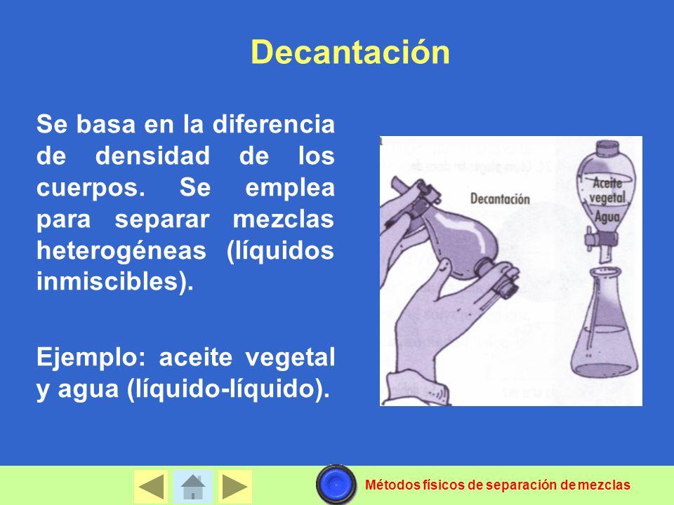 Decantación Se basa en la diferencia de densidad de los cuerpos. Se emplea para separar mezclas heterogéneas (líquidos inmiscibles).