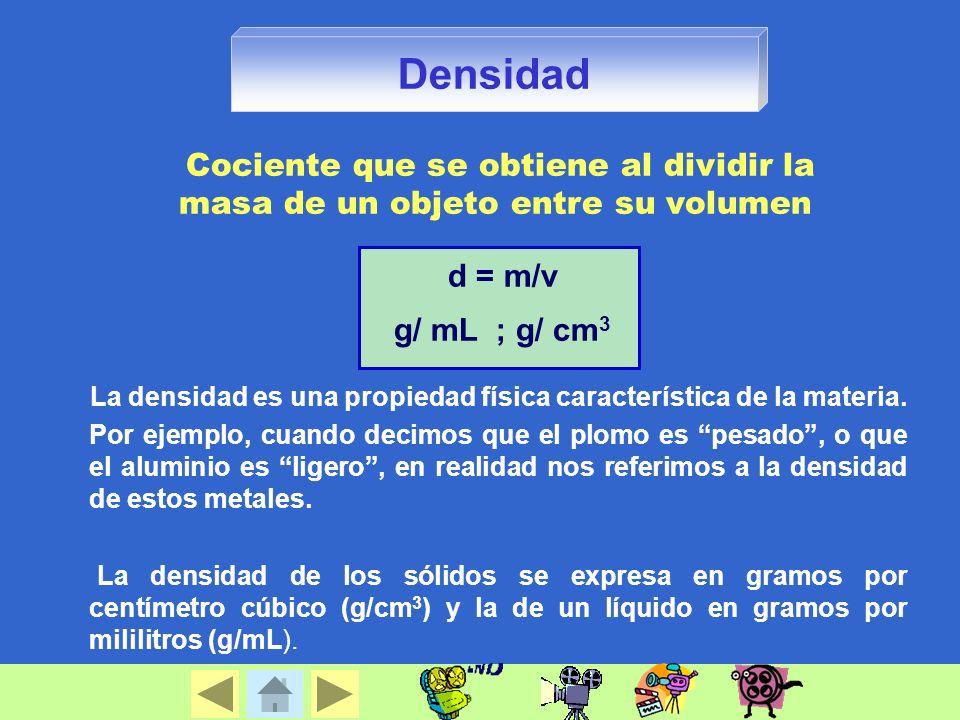 Densidad Cociente que se obtiene al dividir la masa de un objeto entre su volumen. d = m/v. g/ mL ; g/ cm3.