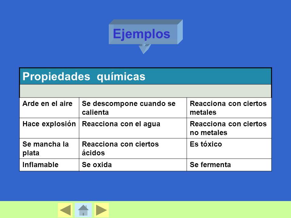 Ejemplos Propiedades químicas Arde en el aire