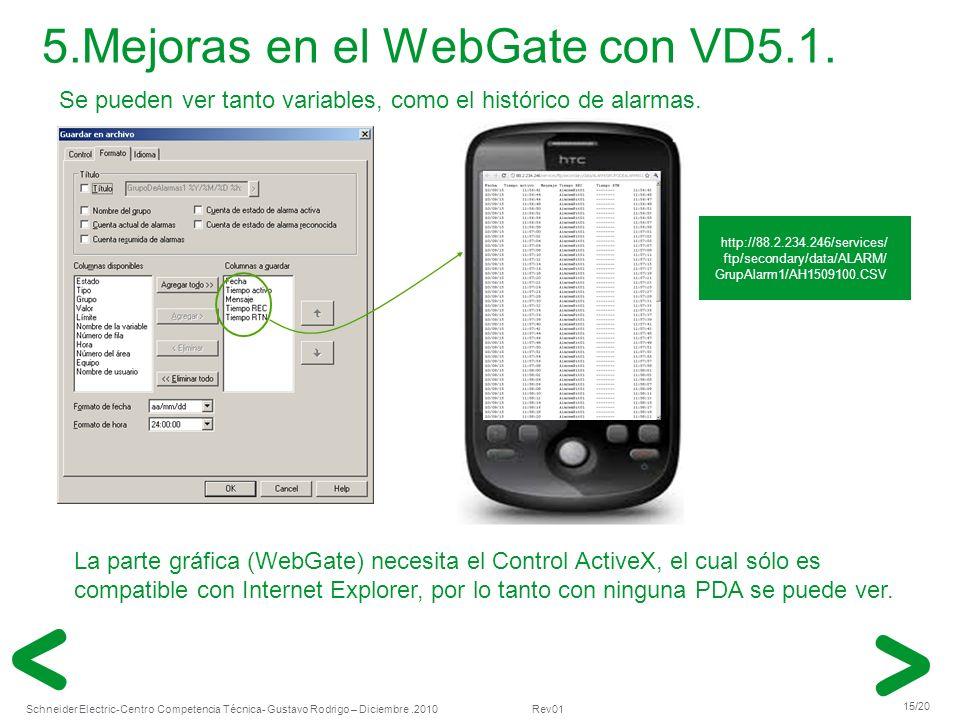 5.Mejoras en el WebGate con VD5.1.