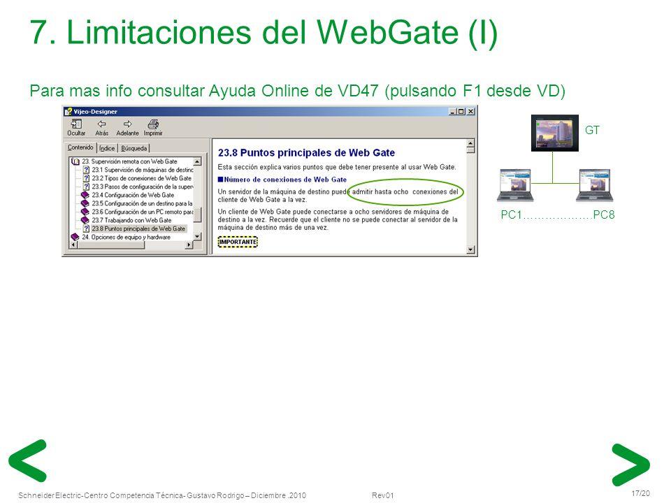 7. Limitaciones del WebGate (I)