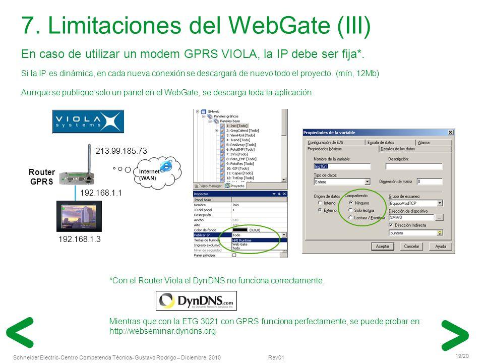 7. Limitaciones del WebGate (III)