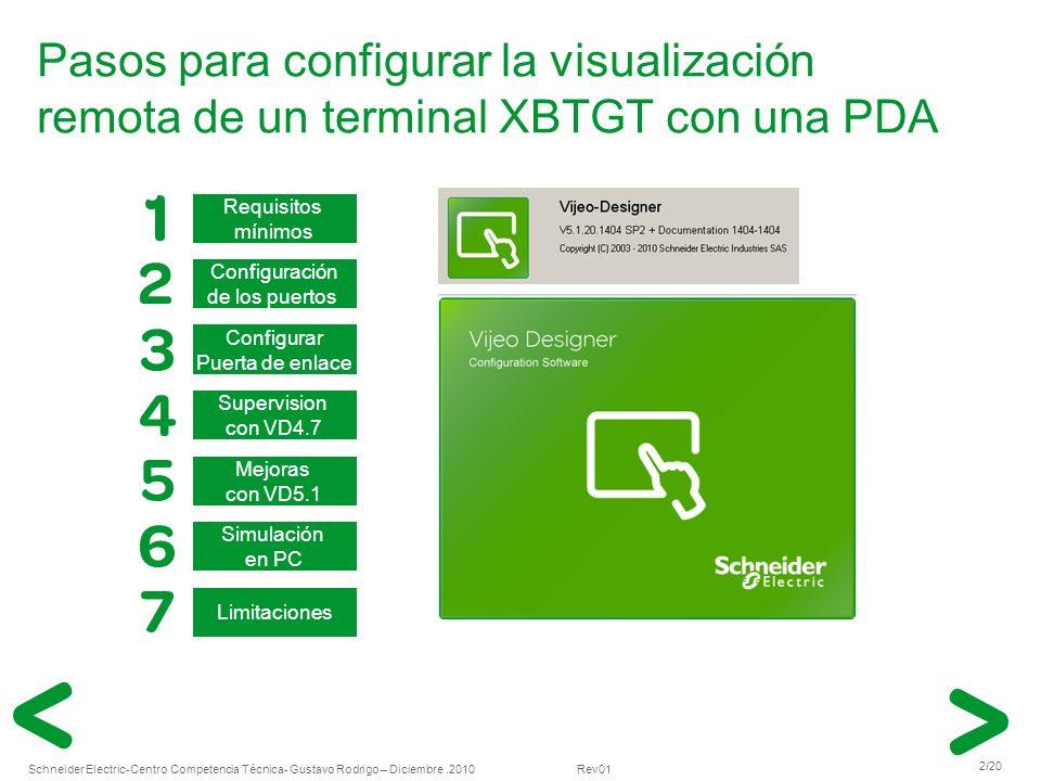 Pasos para configurar la visualización remota de un terminal XBTGT con una PDA