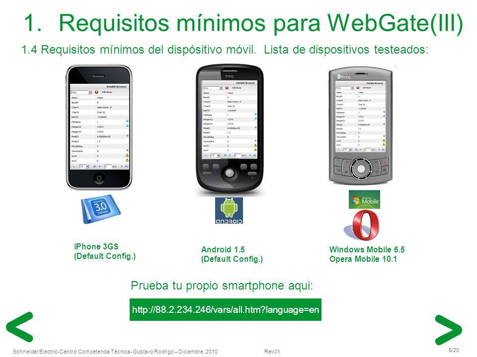 Requisitos mínimos para WebGate(III)