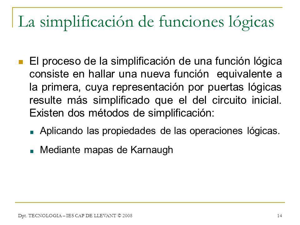 La simplificación de funciones lógicas