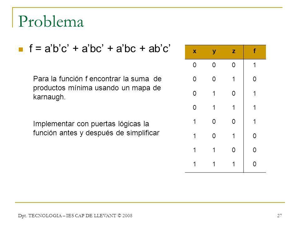 Problema f = a'b'c' + a'bc' + a'bc + ab'c'