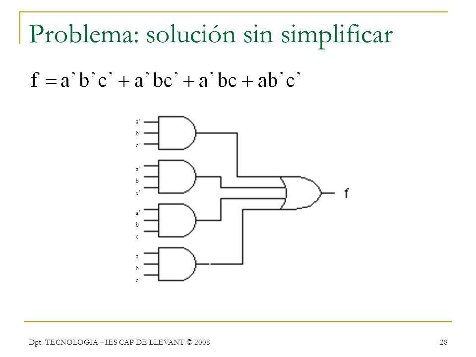 Problema: solución sin simplificar