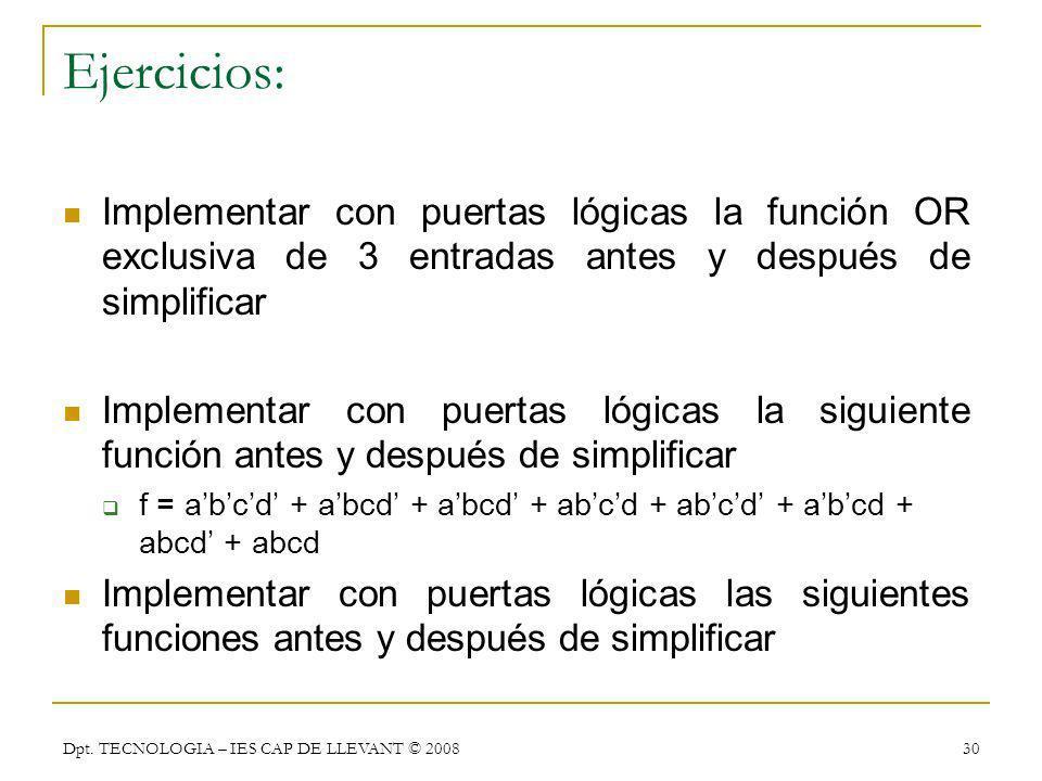 Ejercicios: Implementar con puertas lógicas la función OR exclusiva de 3 entradas antes y después de simplificar.