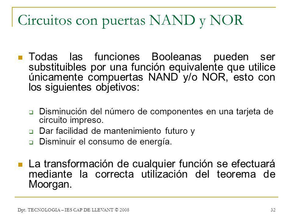 Circuitos con puertas NAND y NOR