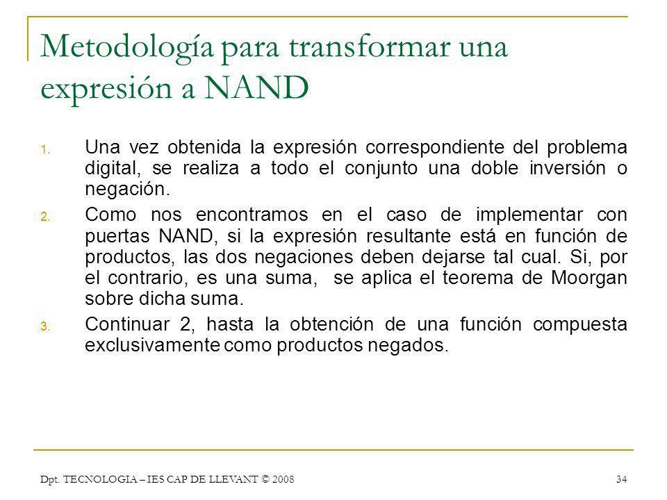 Metodología para transformar una expresión a NAND