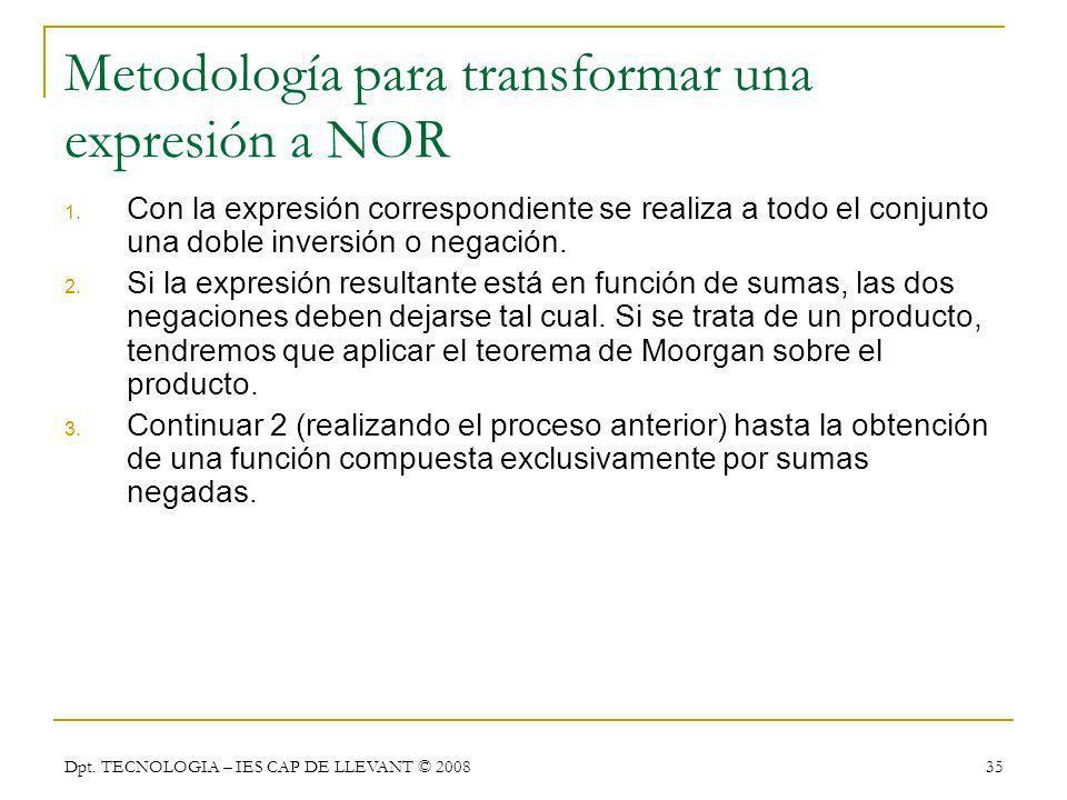 Metodología para transformar una expresión a NOR