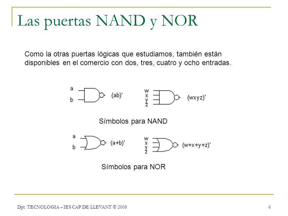 Las puertas NAND y NOR Como la otras puertas lógicas que estudiamos, también están disponibles en el comercio con dos, tres, cuatro y ocho entradas.