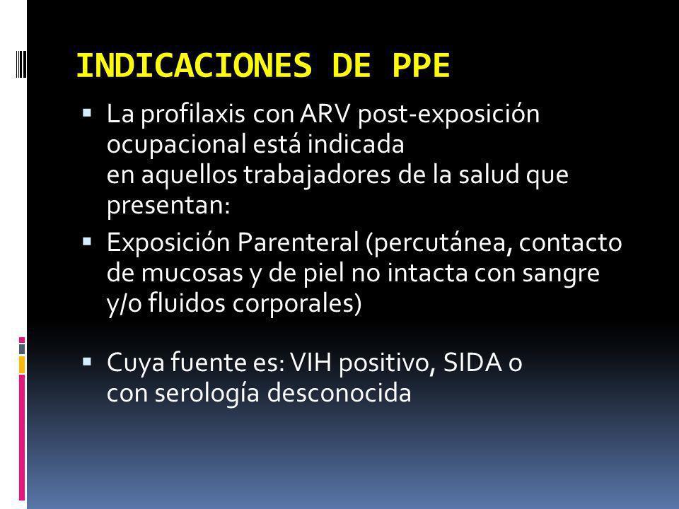 INDICACIONES DE PPE La profilaxis con ARV post-exposición ocupacional está indicada en aquellos trabajadores de la salud que presentan: