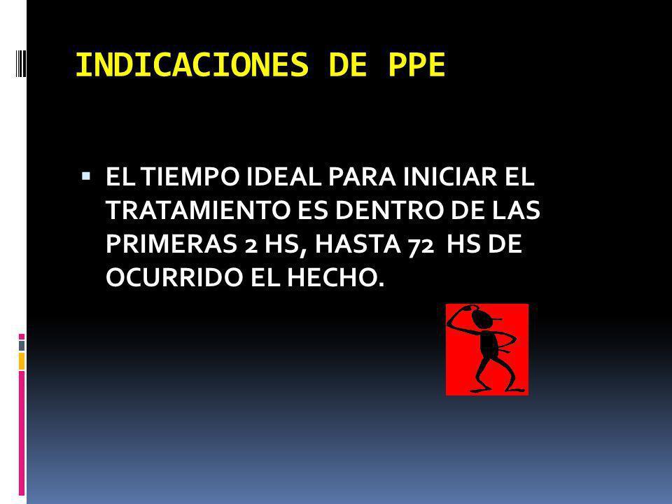 INDICACIONES DE PPE EL TIEMPO IDEAL PARA INICIAR EL TRATAMIENTO ES DENTRO DE LAS PRIMERAS 2 HS, HASTA 72 HS DE OCURRIDO EL HECHO.