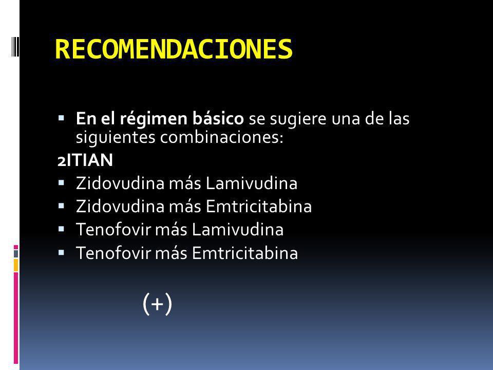 RECOMENDACIONES En el régimen básico se sugiere una de las siguientes combinaciones: 2ITIAN. Zidovudina más Lamivudina.