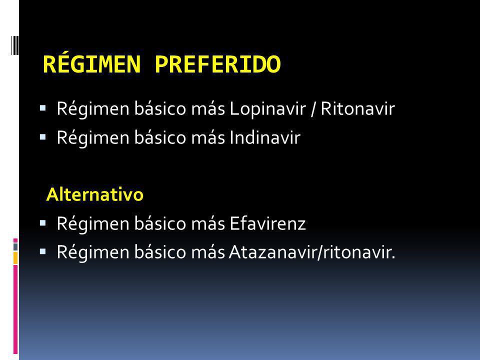 RÉGIMEN PREFERIDO Régimen básico más Lopinavir / Ritonavir