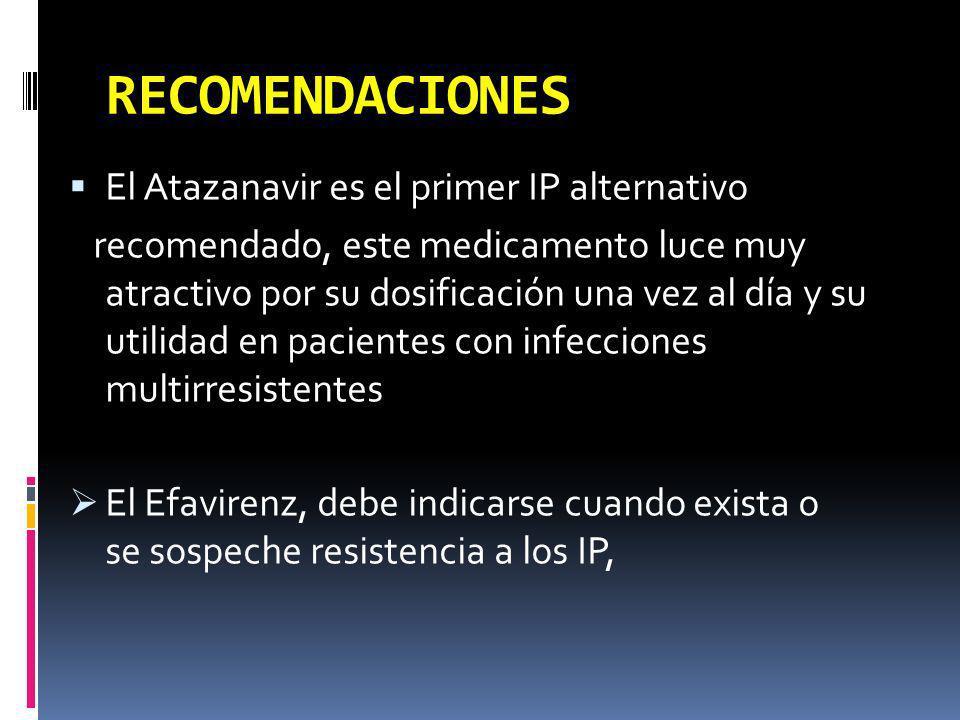 RECOMENDACIONES El Atazanavir es el primer IP alternativo