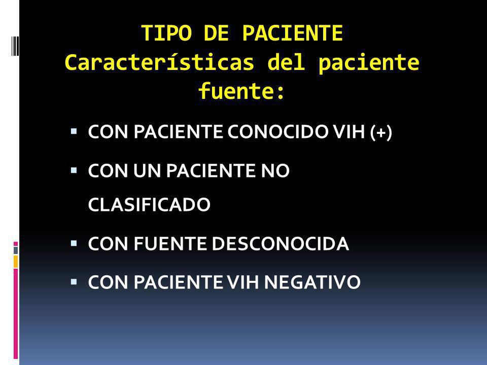 TIPO DE PACIENTE Características del paciente fuente: