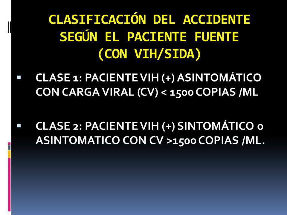 CLASIFICACIÓN DEL ACCIDENTE SEGÚN EL PACIENTE FUENTE (CON VIH/SIDA)
