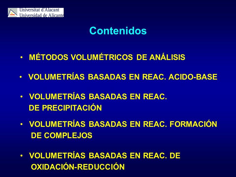 Contenidos MÉTODOS VOLUMÉTRICOS DE ANÁLISIS