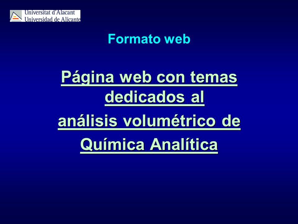 Página web con temas dedicados al análisis volumétrico de