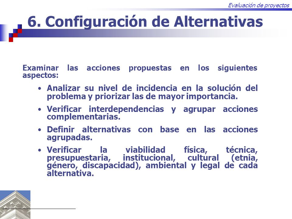 6. Configuración de Alternativas