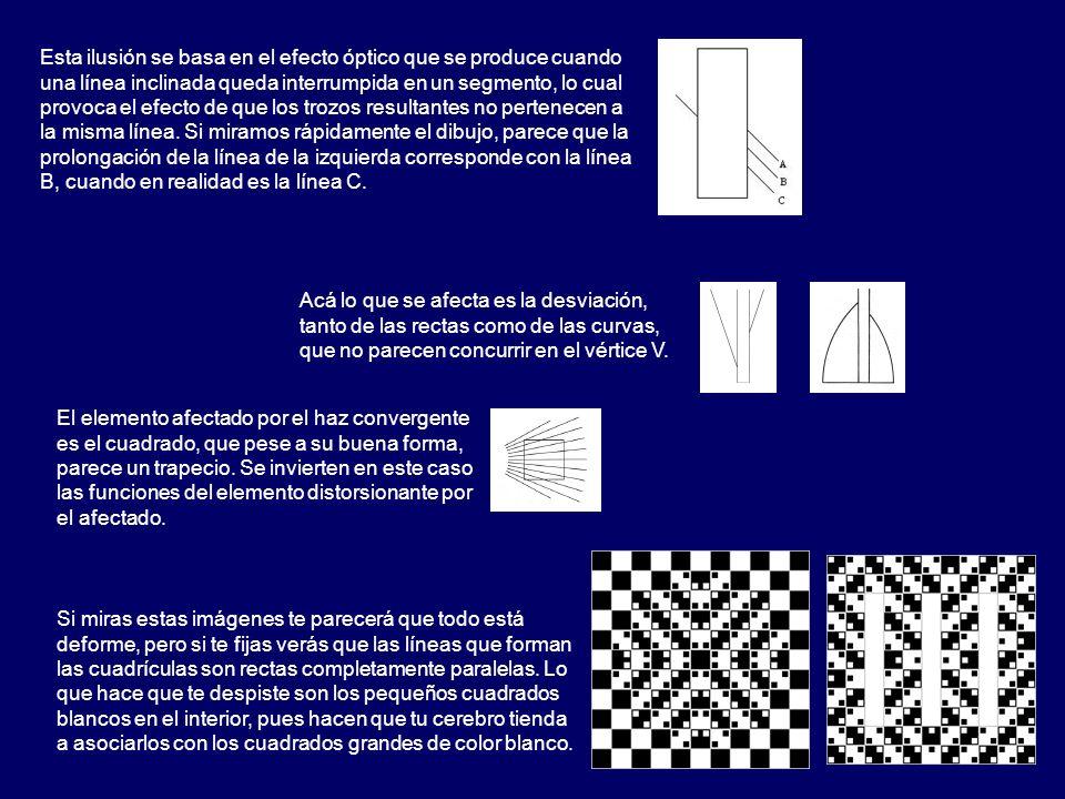 Esta ilusión se basa en el efecto óptico que se produce cuando una línea inclinada queda interrumpida en un segmento, lo cual provoca el efecto de que los trozos resultantes no pertenecen a la misma línea. Si miramos rápidamente el dibujo, parece que la prolongación de la línea de la izquierda corresponde con la línea B, cuando en realidad es la línea C.