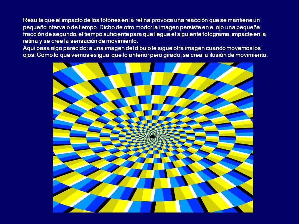 Resulta que el impacto de los fotones en la retina provoca una reacción que se mantiene un pequeño intervalo de tiempo. Dicho de otro modo: la imagen persiste en el ojo una pequeña fracción de segundo, el tiempo suficiente para que llegue el siguiente fotograma, impacte en la retina y se cree la sensación de movimiento.