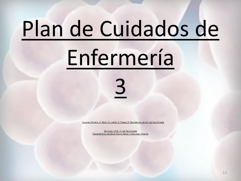 Plan de Cuidados de Enfermería 3 Autores: Romero, P; Espín, D; Ivañez, S; Massa, B; Facultativos de la S.