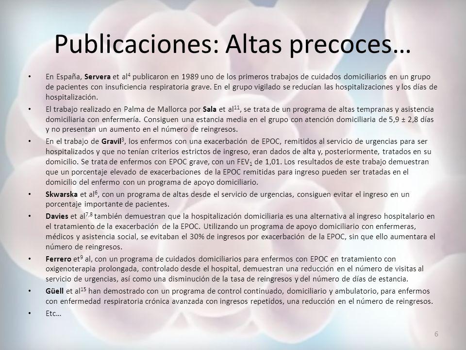 Publicaciones: Altas precoces…