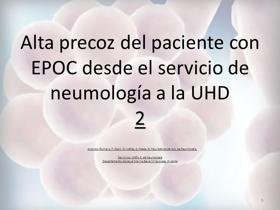 Alta precoz del paciente con EPOC desde el servicio de neumología a la UHD 2 Autores: Romero, P; Espín, D; Ivañez, S; Massa, B; Facultativos de la S.