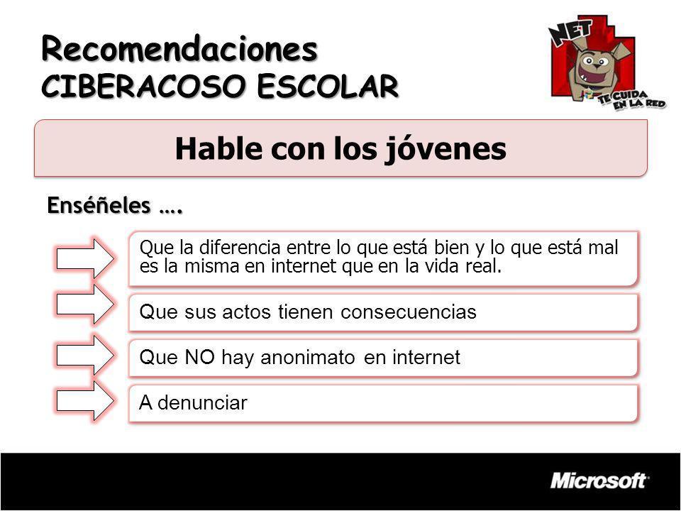 Recomendaciones CIBERACOSO ESCOLAR