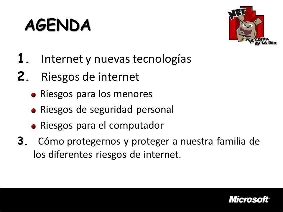 AGENDA 1. Internet y nuevas tecnologías 2. Riesgos de internet